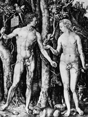 Engraving of Adam and Eve by Albrecht Durer, 15th century